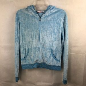 Victoria's Secret blue velour hoodie jacket size S